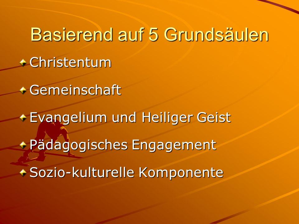 Basierend auf 5 Grundsäulen ChristentumGemeinschaft Evangelium und Heiliger Geist Pädagogisches Engagement Sozio-kulturelle Komponente