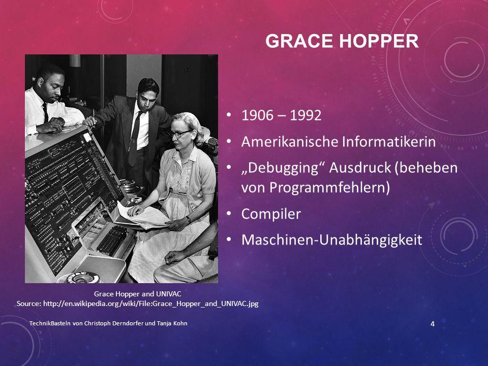 GRACE HOPPER 1906 – 1992 Amerikanische Informatikerin Debugging Ausdruck (beheben von Programmfehlern) Compiler Maschinen-Unabhängigkeit TechnikBastel