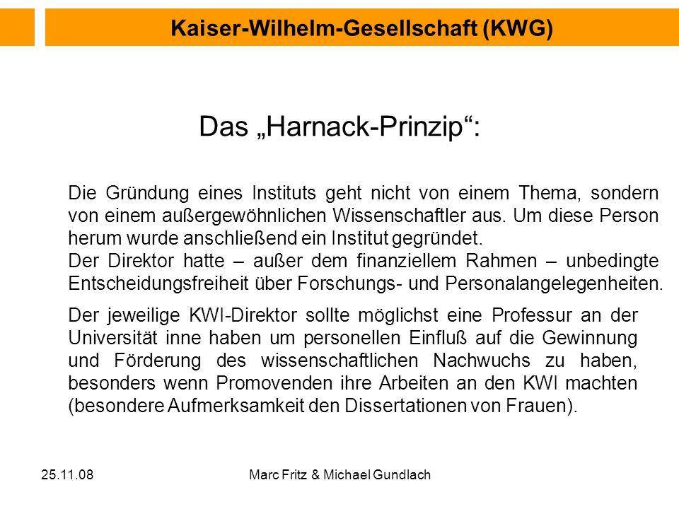 25.11.08Marc Fritz & Michael Gundlach Das Harnack-Prinzip: Die Gründung eines Instituts geht nicht von einem Thema, sondern von einem außergewöhnliche
