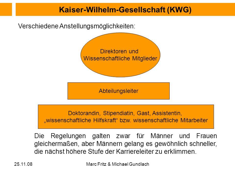 25.11.08Marc Fritz & Michael Gundlach Kaiser-Wilhelm-Gesellschaft (KWG) Verschiedene Anstellungsmöglichkeiten: Die Regelungen galten zwar für Männer u
