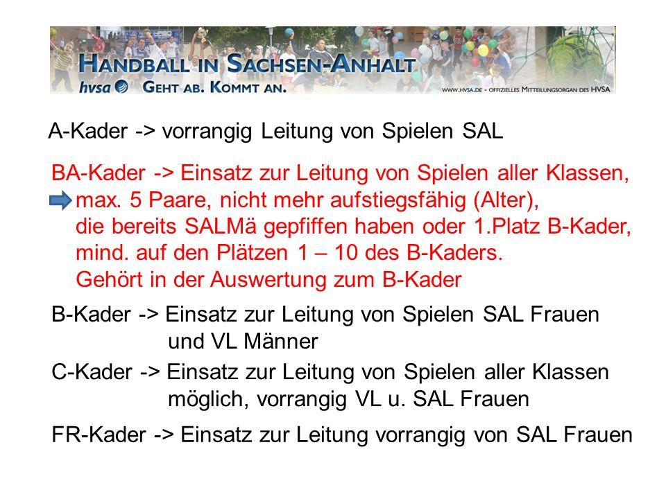 A-Kader -> vorrangig Leitung von Spielen SAL BA-Kader -> Einsatz zur Leitung von Spielen aller Klassen, max. 5 Paare, nicht mehr aufstiegsfähig (Alter