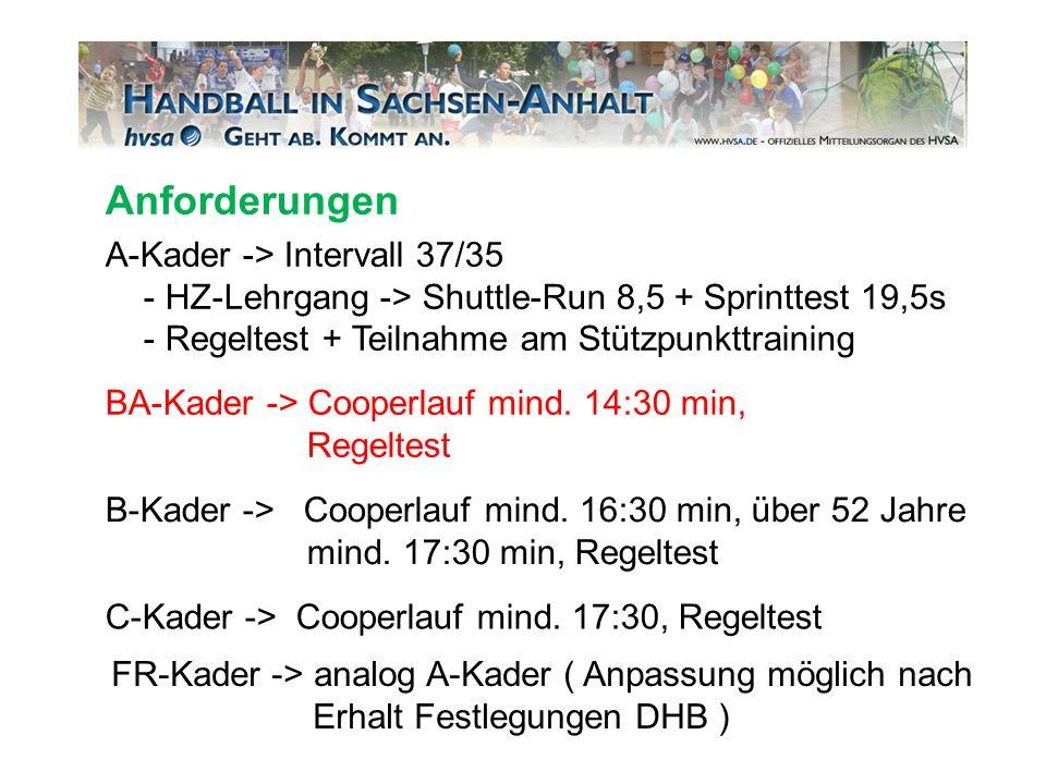 A-Kader -> Intervall 37/35 - HZ-Lehrgang -> Shuttle-Run 8,5 + Sprinttest 19,5s - Regeltest + Teilnahme am Stützpunkttraining BA-Kader -> Cooperlauf mi