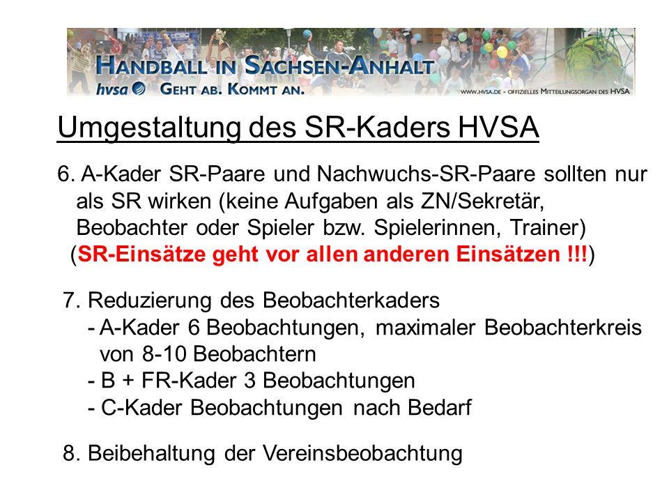 6. A-Kader SR-Paare und Nachwuchs-SR-Paare sollten nur als SR wirken (keine Aufgaben als ZN/Sekretär, Beobachter oder Spieler bzw. Spielerinnen, Train