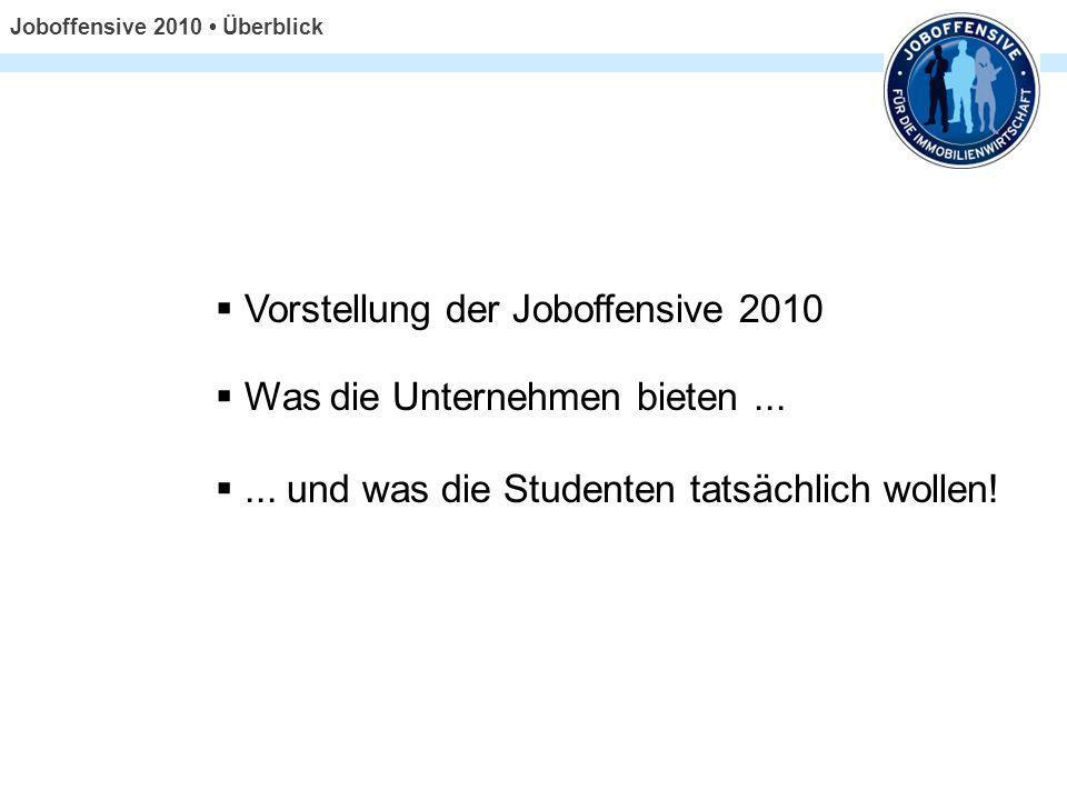Joboffensive 2010 Überblick Vorstellung der Joboffensive 2010 Was die Unternehmen bieten...... und was die Studenten tatsächlich wollen!