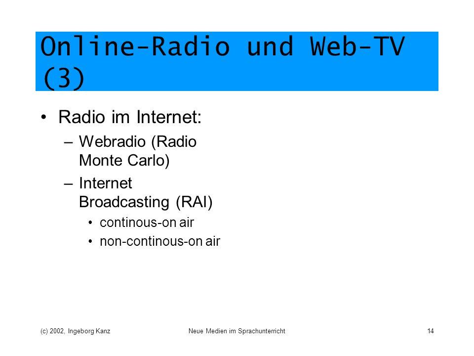 (c) 2002, Ingeborg KanzNeue Medien im Sprachunterricht14 Online-Radio und Web-TV (3) Radio im Internet: –Webradio (Radio Monte Carlo) –Internet Broadcasting (RAI) continous-on air non-continous-on air