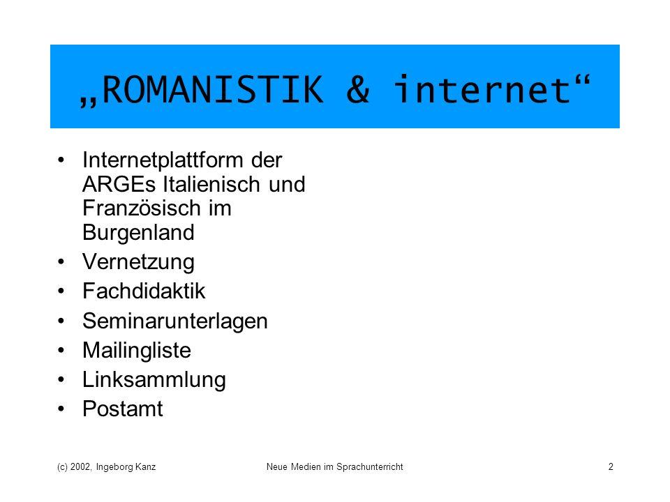 (c) 2002, Ingeborg KanzNeue Medien im Sprachunterricht2 ROMANISTIK & internet Internetplattform der ARGEs Italienisch und Französisch im Burgenland Ve