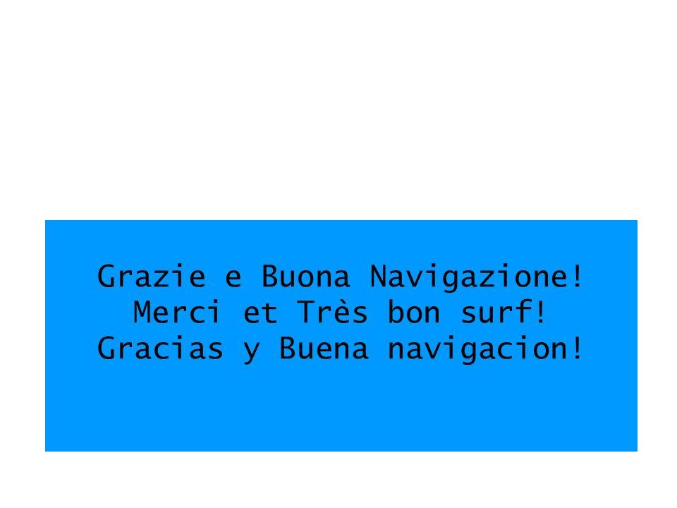 Grazie e Buona Navigazione! Merci et Très bon surf! Gracias y Buena navigacion!