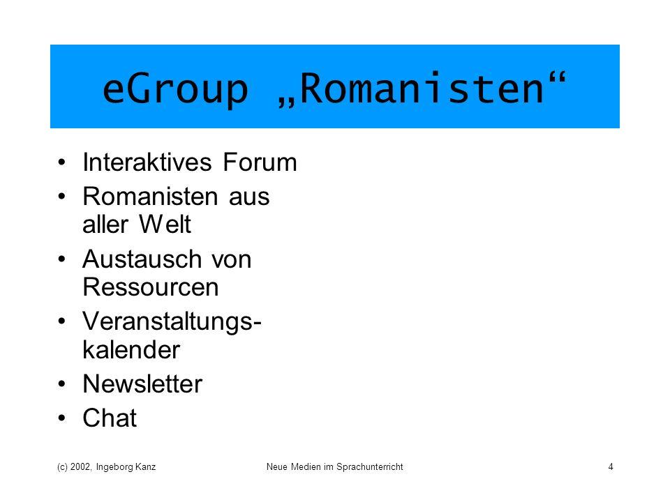 (c) 2002, Ingeborg KanzNeue Medien im Sprachunterricht4 eGroup Romanisten Interaktives Forum Romanisten aus aller Welt Austausch von Ressourcen Veranstaltungs- kalender Newsletter Chat