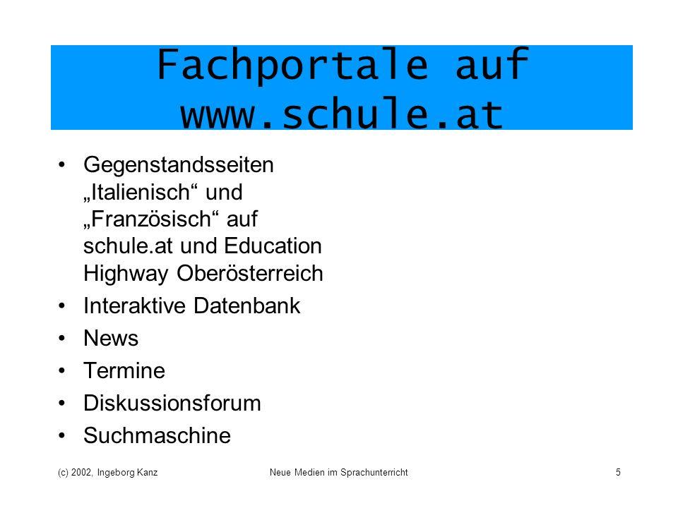 (c) 2002, Ingeborg KanzNeue Medien im Sprachunterricht5 Fachportale auf www.schule.at Gegenstandsseiten Italienisch und Französisch auf schule.at und
