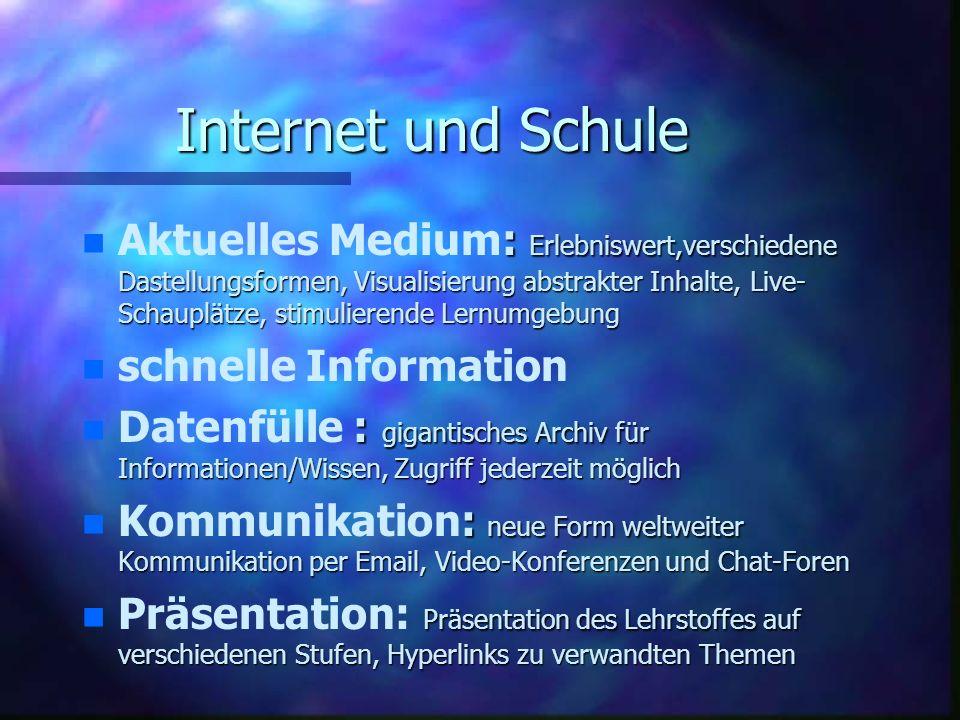 Internet und Schule n n Aktuelles : Medium: Erlebniswert,verschiedene Dastellungsformen, Visualisierung abstrakter Inhalte, Live- Schauplätze, stimuli