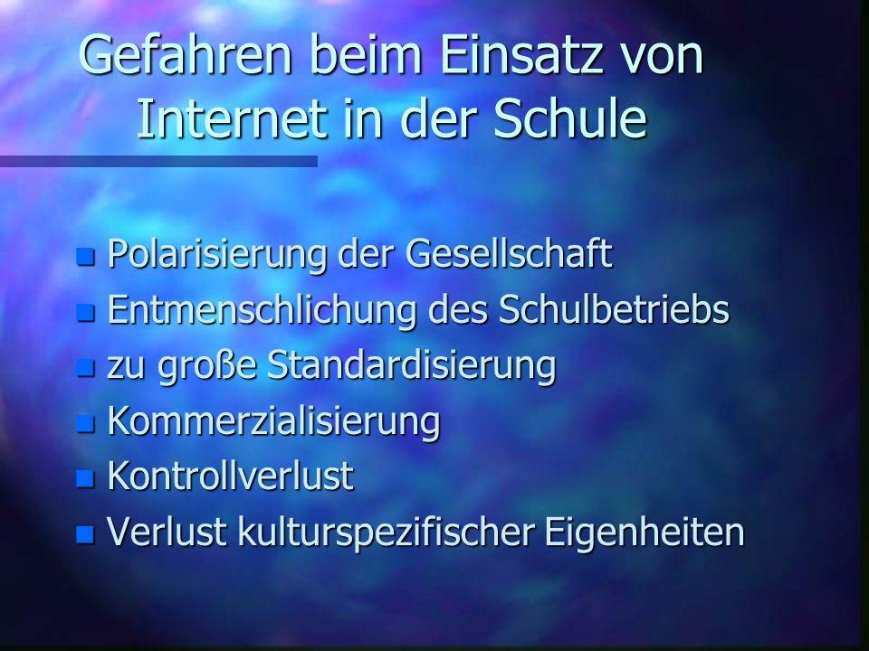 Gefahren beim Einsatz von Internet in der Schule n Polarisierung n Polarisierung der Gesellschaft n Entmenschlichung n Entmenschlichung des Schulbetri