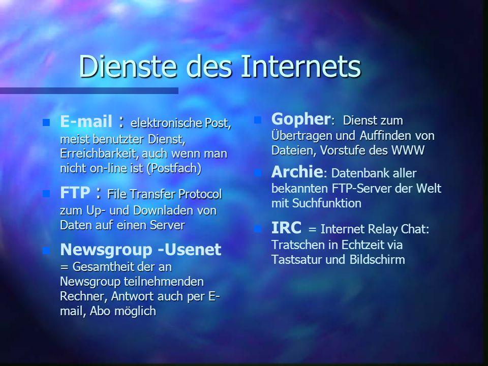 Dienste des Internets n : elektronische Post, meist benutzter Dienst, Erreichbarkeit, auch wenn man nicht on-line ist (Postfach) n E-mail : elektronische Post, meist benutzter Dienst, Erreichbarkeit, auch wenn man nicht on-line ist (Postfach) n : File Transfer Protocol zum Up- und Downladen von Daten auf einen Server n FTP : File Transfer Protocol zum Up- und Downladen von Daten auf einen Server n = Gesamtheit der an Newsgroup teilnehmenden Rechner, Antwort auch per E- mail, Abo möglich n Newsgroup -Usenet = Gesamtheit der an Newsgroup teilnehmenden Rechner, Antwort auch per E- mail, Abo möglich n Gopher : Dienst zum Übertragen und Auffinden von Dateien, Vorstufe des WWW n Archie : Datenbank aller bekannten FTP-Server der Welt mit Suchfunktion n IRC = Internet Relay Chat: Tratschen in Echtzeit via Tastsatur und Bildschirm