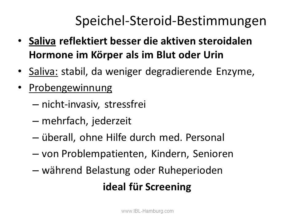 www.IBL-Hamburg.com Speichel-Steroid-Bestimmungen Saliva reflektiert besser die aktiven steroidalen Hormone im Körper als im Blut oder Urin Saliva: stabil, da weniger degradierende Enzyme, Probengewinnung – nicht-invasiv, stressfrei – mehrfach, jederzeit – überall, ohne Hilfe durch med.