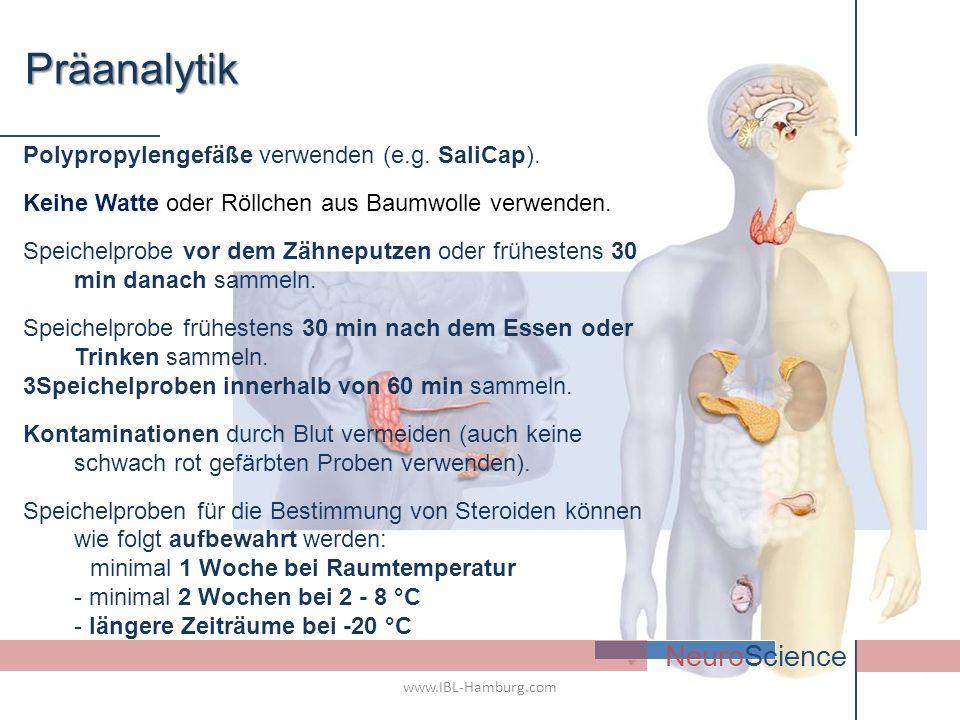. NeuroSciencePräanalytik Polypropylengefäße verwenden (e.g. SaliCap). Keine Watte oder Röllchen aus Baumwolle verwenden. Speichelprobe vor dem Zähnep