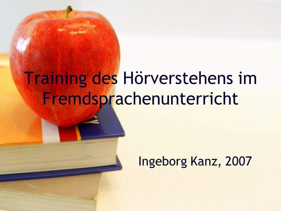 (c) 2007, Ingeborg KanzHörverstehen12 Bei Textauswahl beachten Methode der Präsentation des Hörtextes Gesprächskonstellation Sprechgeschwindigkeit Pausen Standardsprache (geglättete Alltagssprache bzw.