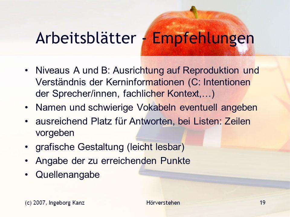 (c) 2007, Ingeborg KanzHörverstehen19 Arbeitsblätter - Empfehlungen Niveaus A und B: Ausrichtung auf Reproduktion und Verständnis der Kerninformatione