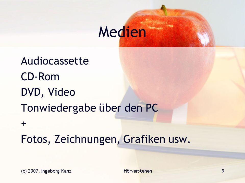 (c) 2007, Ingeborg KanzHörverstehen9 Medien Audiocassette CD-Rom DVD, Video Tonwiedergabe über den PC + Fotos, Zeichnungen, Grafiken usw.