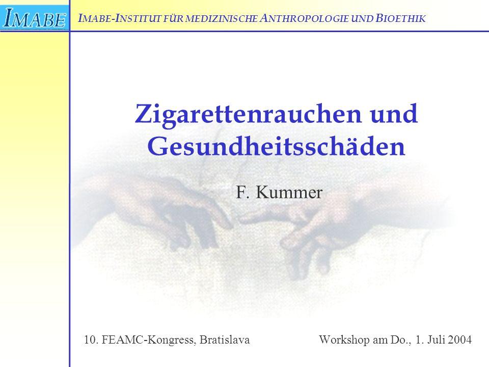 I MABE- I NSTITUT FÜR MEDIZINISCHE A NTHROPOLOGIE UND B IOETHIK Zigarettenrauchen und Gesundheitsschäden F. Kummer 10. FEAMC-Kongress, BratislavaWorks