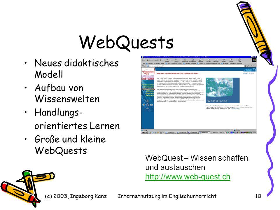 (c) 2003, Ingeborg KanzInternetnutzung im Englischunterricht10 WebQuests Neues didaktisches Modell Aufbau von Wissenswelten Handlungs- orientiertes Le