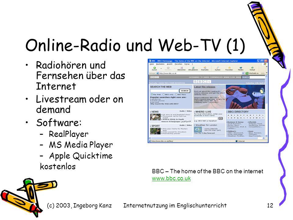 (c) 2003, Ingeborg KanzInternetnutzung im Englischunterricht12 Online-Radio und Web-TV (1) Radiohören und Fernsehen über das Internet Livestream oder