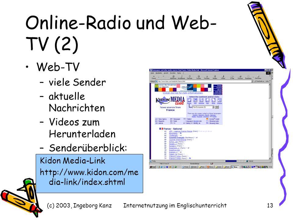(c) 2003, Ingeborg KanzInternetnutzung im Englischunterricht13 Online-Radio und Web- TV (2) Web-TV –viele Sender –aktuelle Nachrichten –Videos zum Her