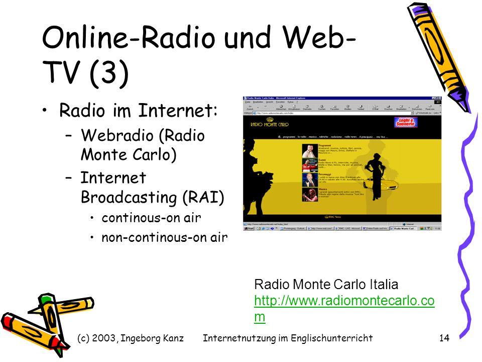 (c) 2003, Ingeborg KanzInternetnutzung im Englischunterricht14 Online-Radio und Web- TV (3) Radio im Internet: –Webradio (Radio Monte Carlo) –Internet