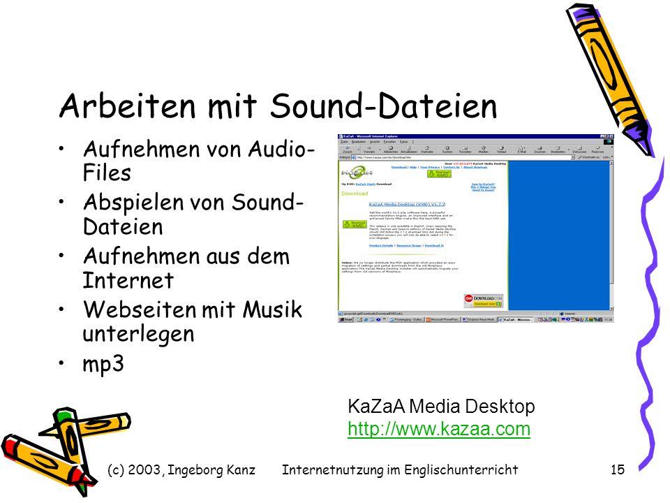 (c) 2003, Ingeborg KanzInternetnutzung im Englischunterricht15 Arbeiten mit Sound-Dateien Aufnehmen von Audio- Files Abspielen von Sound- Dateien Aufn