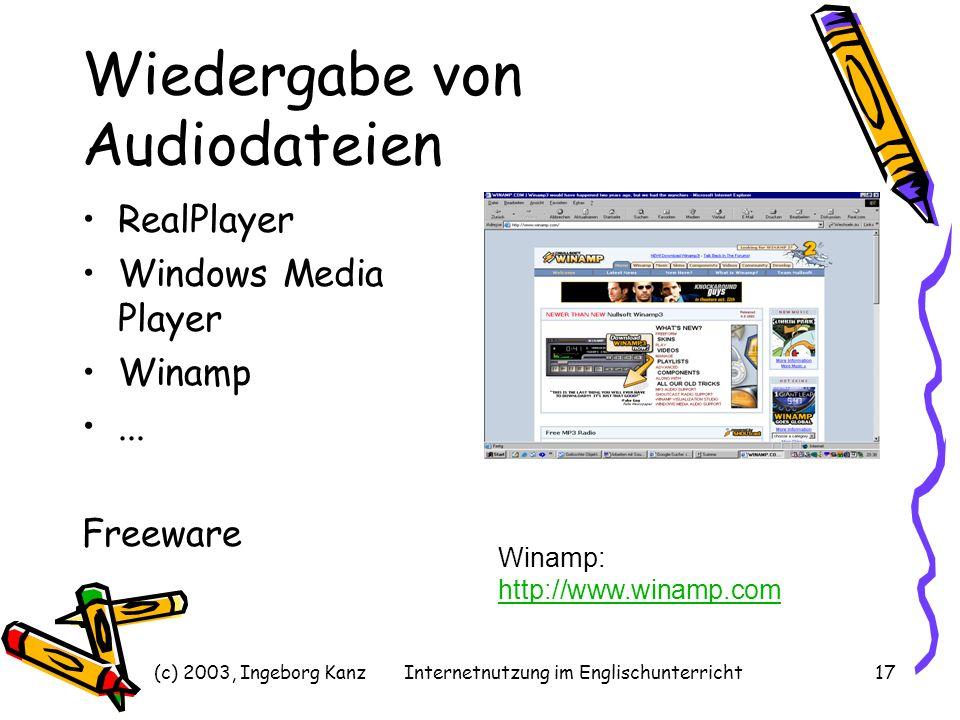 (c) 2003, Ingeborg KanzInternetnutzung im Englischunterricht17 Wiedergabe von Audiodateien RealPlayer Windows Media Player Winamp... Freeware Winamp: