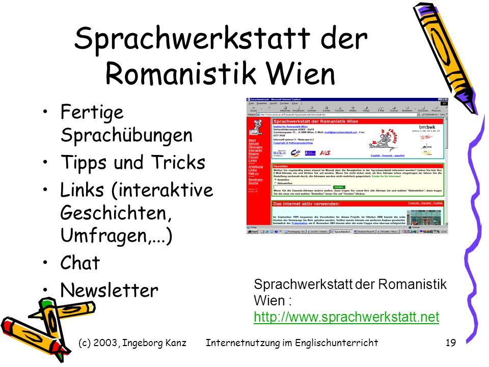 (c) 2003, Ingeborg KanzInternetnutzung im Englischunterricht19 Sprachwerkstatt der Romanistik Wien Fertige Sprachübungen Tipps und Tricks Links (inter
