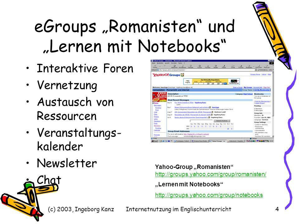 (c) 2003, Ingeborg KanzInternetnutzung im Englischunterricht4 eGroups Romanisten und Lernen mit Notebooks Interaktive Foren Vernetzung Austausch von R