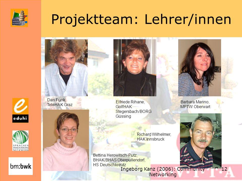 Ingeborg Kanz (2006): Community Networking 12 Projektteam: Lehrer/innen Dan Funk, TeleHAK Graz Elfriede Rihane, GolfHAK Stegersbach/BORG Güssing Barba