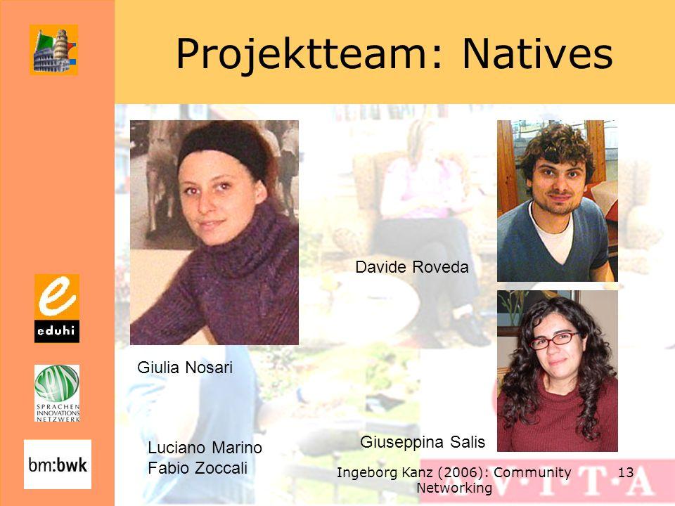 Ingeborg Kanz (2006): Community Networking 13 Projektteam: Natives Giulia Nosari Davide Roveda Giuseppina Salis Luciano Marino Fabio Zoccali