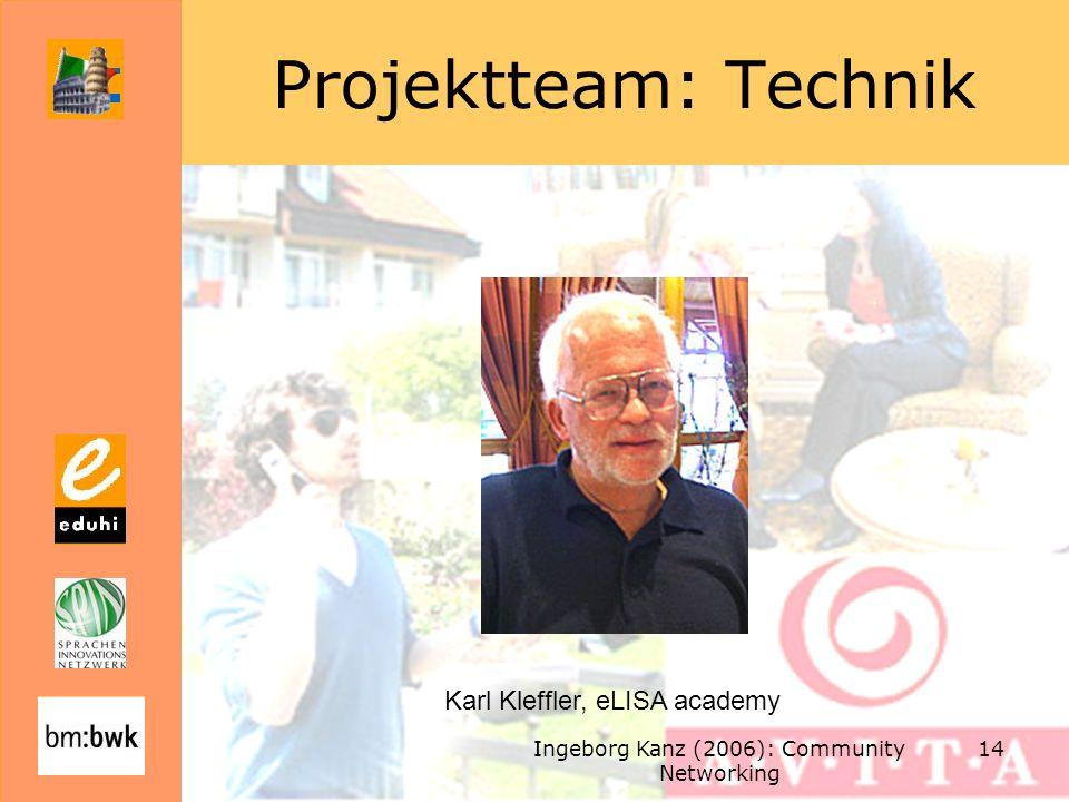 Ingeborg Kanz (2006): Community Networking 14 Projektteam: Technik Karl Kleffler, eLISA academy