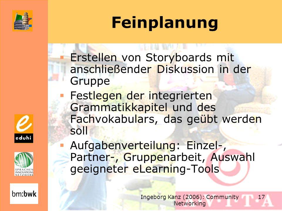 Ingeborg Kanz (2006): Community Networking 17 Feinplanung Erstellen von Storyboards mit anschließender Diskussion in der Gruppe Festlegen der integrie