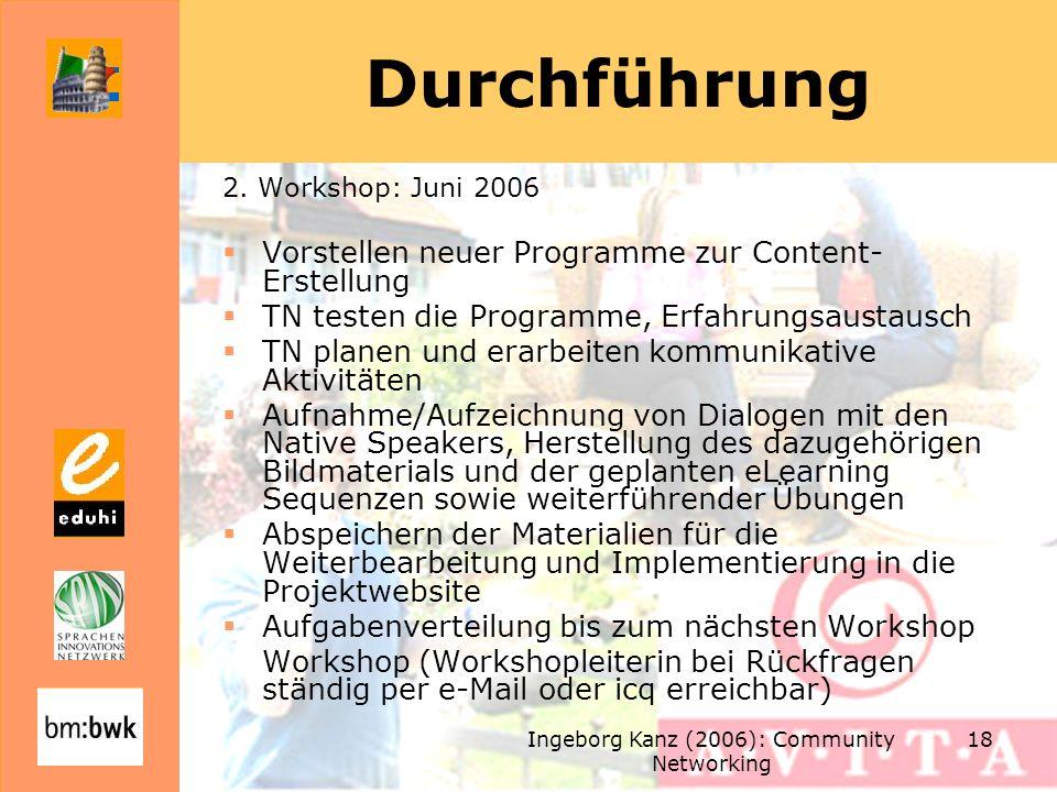 Ingeborg Kanz (2006): Community Networking 18 Durchführung 2. Workshop: Juni 2006 Vorstellen neuer Programme zur Content- Erstellung TN testen die Pro