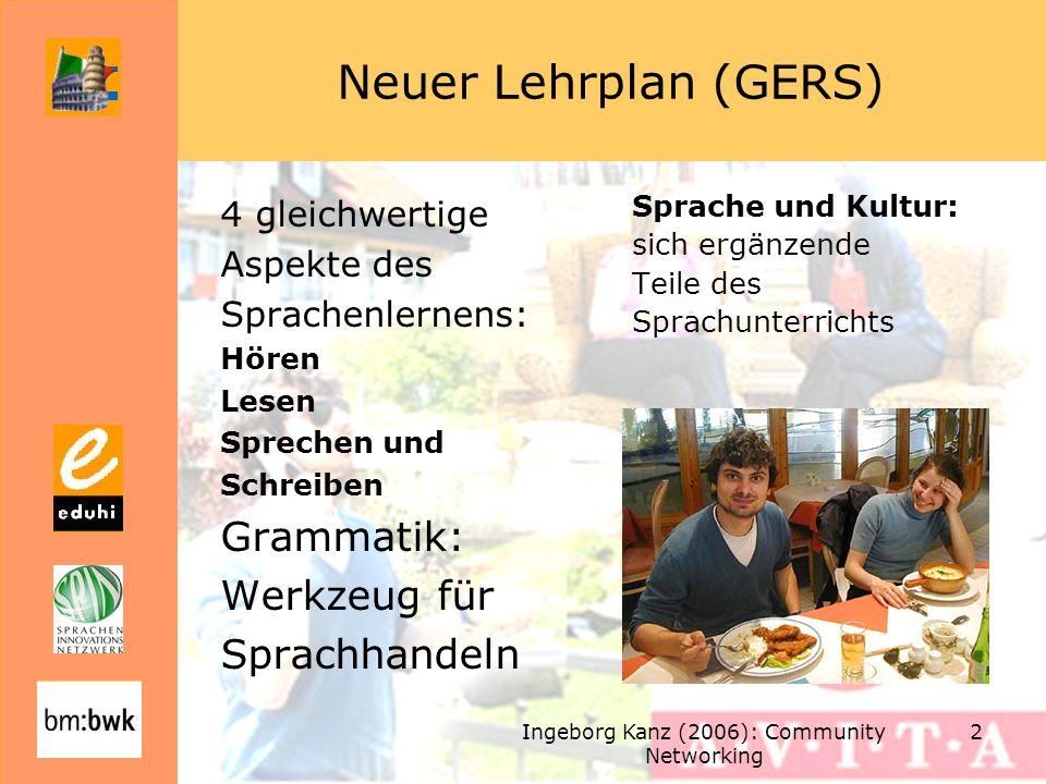 Ingeborg Kanz (2006): Community Networking 23 Sprachniveau Niveaustufen A1 bis B1 Des Gemeinsamen europäischen Referenzrahmens für Sprachen (GERS) Siehe Didaktische Hinweise