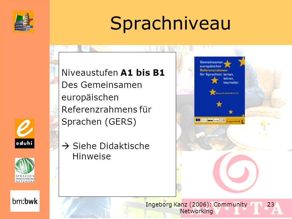 Ingeborg Kanz (2006): Community Networking 23 Sprachniveau Niveaustufen A1 bis B1 Des Gemeinsamen europäischen Referenzrahmens für Sprachen (GERS) Sie