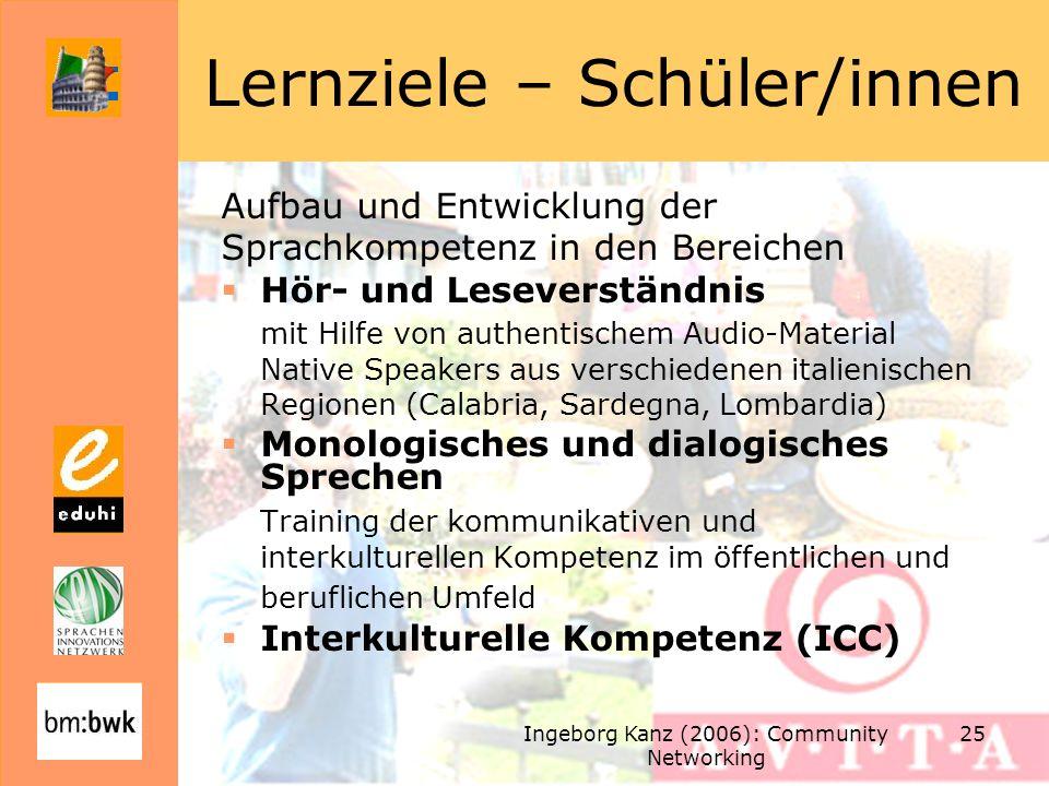 Ingeborg Kanz (2006): Community Networking 25 Lernziele – Schüler/innen Aufbau und Entwicklung der Sprachkompetenz in den Bereichen Hör- und Leseverst
