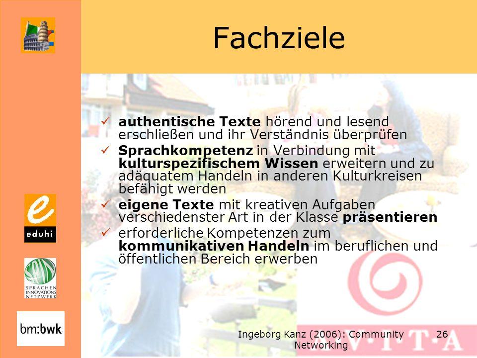 Ingeborg Kanz (2006): Community Networking 26 Fachziele authentische Texte hörend und lesend erschließen und ihr Verständnis überprüfen Sprachkompeten