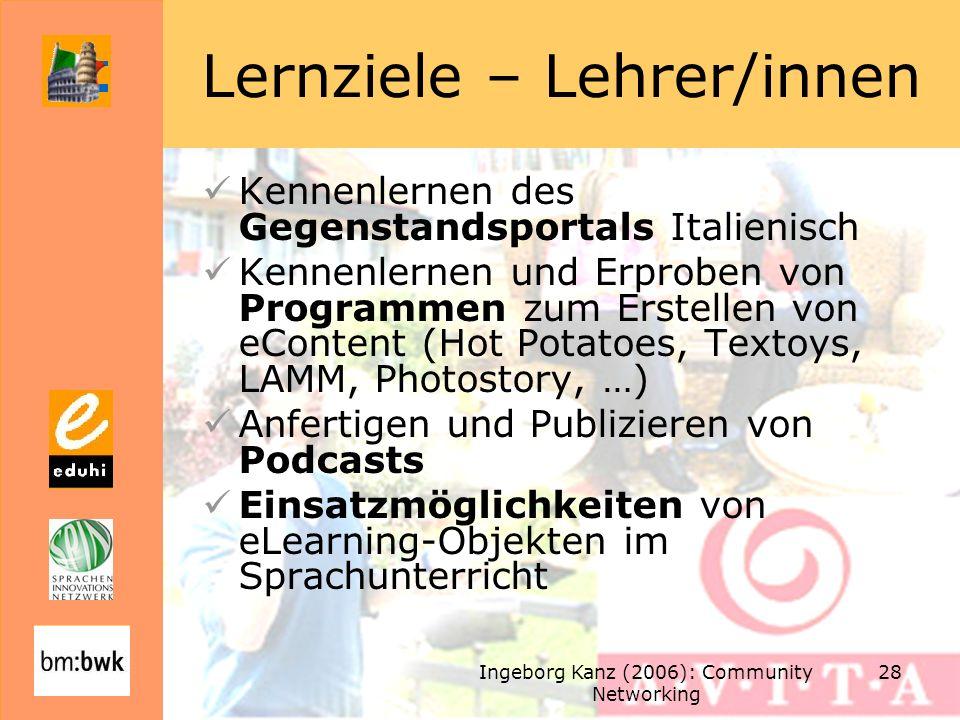 Ingeborg Kanz (2006): Community Networking 28 Lernziele – Lehrer/innen Kennenlernen des Gegenstandsportals Italienisch Kennenlernen und Erproben von Programmen zum Erstellen von eContent (Hot Potatoes, Textoys, LAMM, Photostory, …) Anfertigen und Publizieren von Podcasts Einsatzmöglichkeiten von eLearning-Objekten im Sprachunterricht