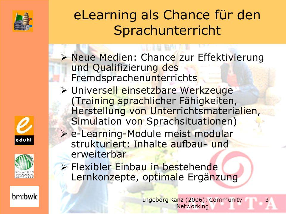 Ingeborg Kanz (2006): Community Networking 3 eLearning als Chance für den Sprachunterricht Neue Medien: Chance zur Effektivierung und Qualifizierung d