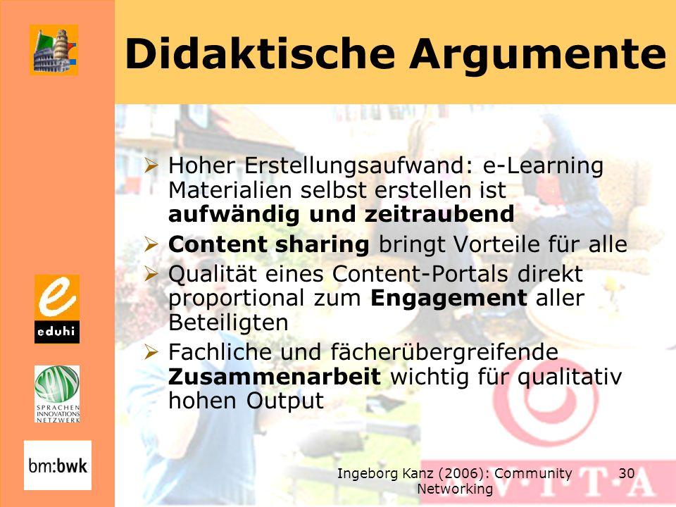 Ingeborg Kanz (2006): Community Networking 30 Didaktische Argumente Hoher Erstellungsaufwand: e-Learning Materialien selbst erstellen ist aufwändig un
