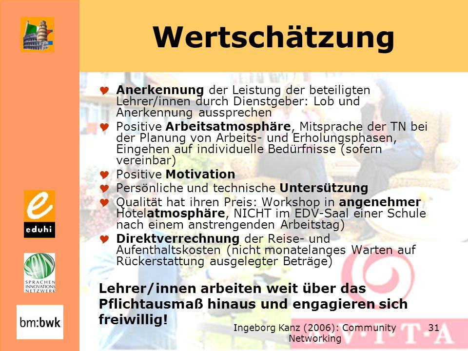 Ingeborg Kanz (2006): Community Networking 31 Wertschätzung Anerkennung der Leistung der beteiligten Lehrer/innen durch Dienstgeber: Lob und Anerkennung aussprechen Positive Arbeitsatmosphäre, Mitsprache der TN bei der Planung von Arbeits- und Erholungsphasen, Eingehen auf individuelle Bedürfnisse (sofern vereinbar) Positive Motivation Persönliche und technische Untersützung Qualität hat ihren Preis: Workshop in angenehmer Hotelatmosphäre, NICHT im EDV-Saal einer Schule nach einem anstrengenden Arbeitstag) Direktverrechnung der Reise- und Aufenthaltskosten (nicht monatelanges Warten auf Rückerstattung ausgelegter Beträge) Lehrer/innen arbeiten weit über das Pflichtausmaß hinaus und engagieren sich freiwillig!