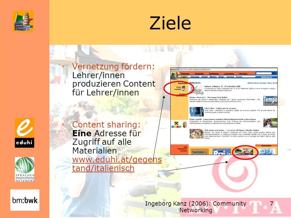 Ingeborg Kanz (2006): Community Networking 7 Ziele Vernetzung fördern: Lehrer/innen produzieren Content für Lehrer/innen Content sharing: Eine Adresse für Zugriff auf alle Materialien www.eduhi.at/gegens tand/italienisch www.eduhi.at/gegens tand/italienisch