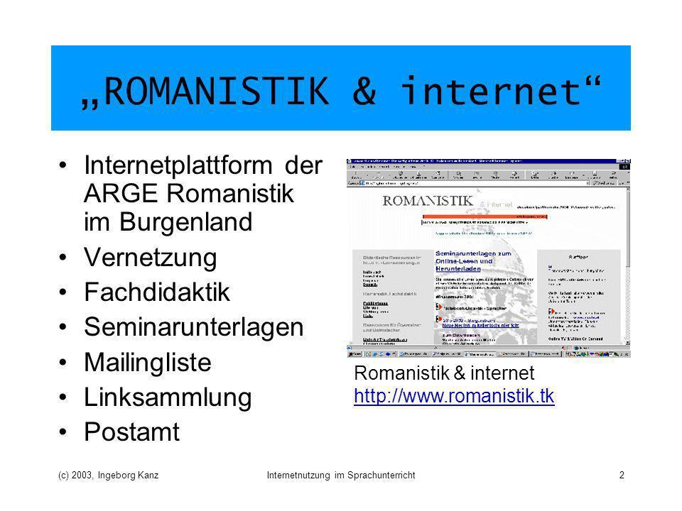 (c) 2003, Ingeborg KanzInternetnutzung im Sprachunterricht3 Übungspool Sammlung von didaktischen Ressourcen Unterschiedlicher Schwierigkeitsgrad Word, PowerPoint ständig erweitert Webübungen für Italienisch, Französisch, Deutsch und Englisch