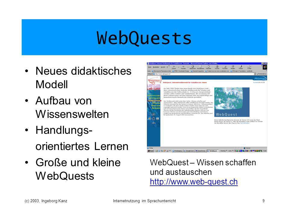 (c) 2003, Ingeborg KanzInternetnutzung im Sprachunterricht9 WebQuests Neues didaktisches Modell Aufbau von Wissenswelten Handlungs- orientiertes Lernen Große und kleine WebQuests WebQuest – Wissen schaffen und austauschen http://www.web-quest.ch http://www.web-quest.ch