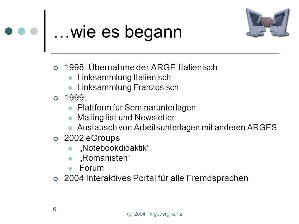 (c) 2004, Ingeborg Kanz 7 Didaktisches Modell Beispiel für Arbeiten mit Lernplattformen (Testplattform) 1 : 1 übertragbar direktes Feedback Kommunizieren mit native speakers Online-Seminare, Unterlagen zu Fortbildungsveranstaltungen …