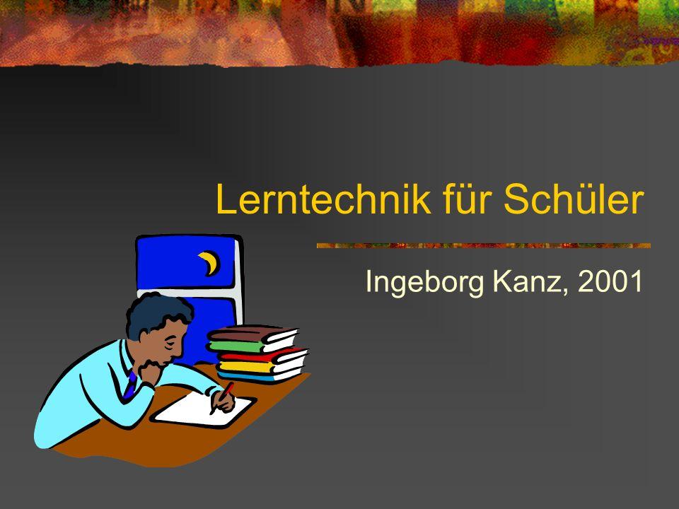 Lerntechnik für Schüler Ingeborg Kanz, 2001