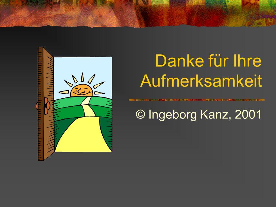Danke für Ihre Aufmerksamkeit © Ingeborg Kanz, 2001