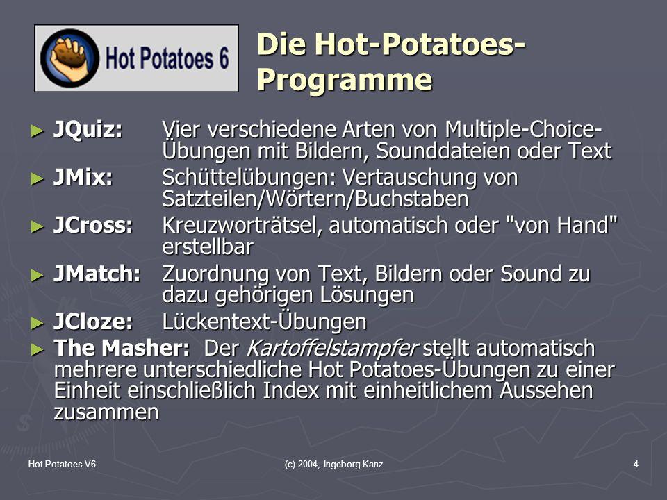 Hot Potatoes V6(c) 2004, Ingeborg Kanz4 Die Hot-Potatoes- Programme JQuiz:Vier verschiedene Arten von Multiple-Choice- Übungen mit Bildern, Sounddatei